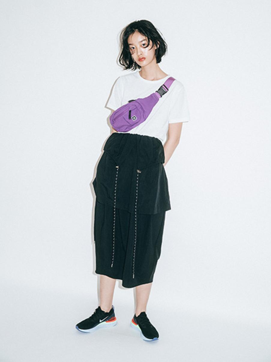 【emmi atelier】ドロストレイヤードスカート(BLK-0)
